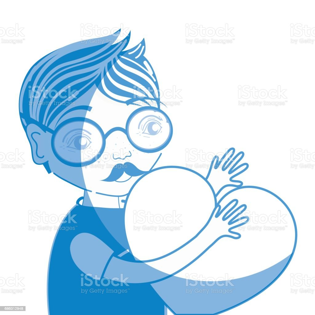 ee38a45b40 silhouette nice man with glasses and heart in the hands royalty-free  silhouette nice man