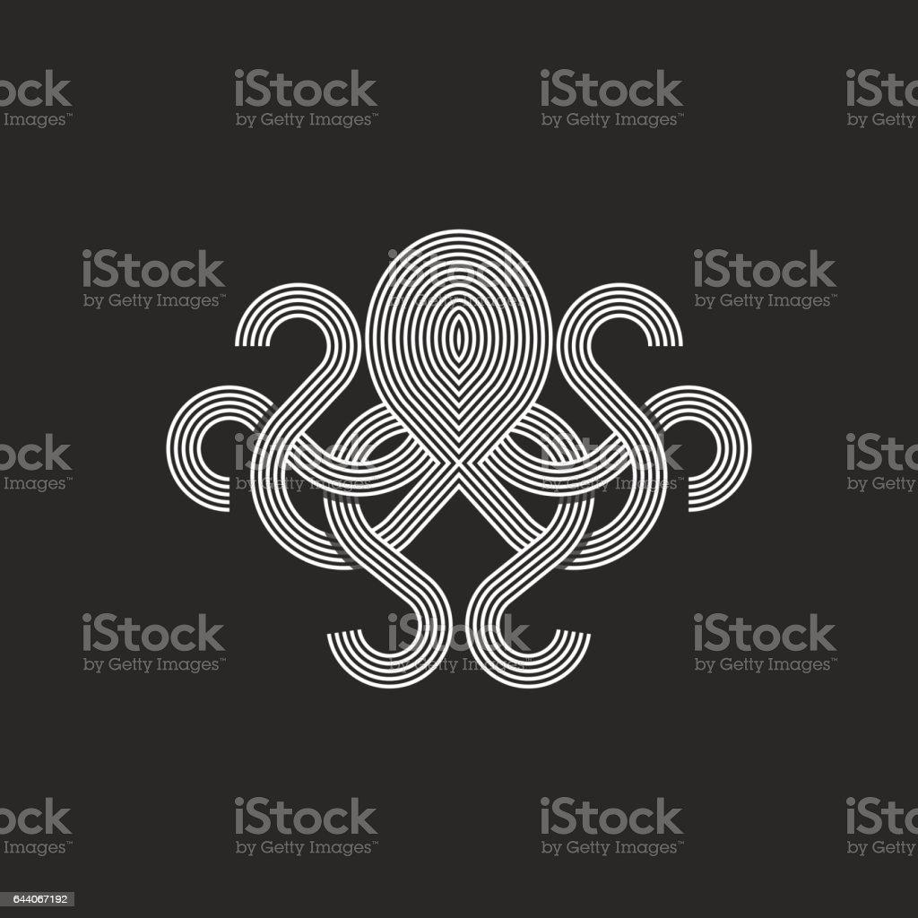Silhouette octopus logo monogram, mockup seafood restaurant emblem vector art illustration