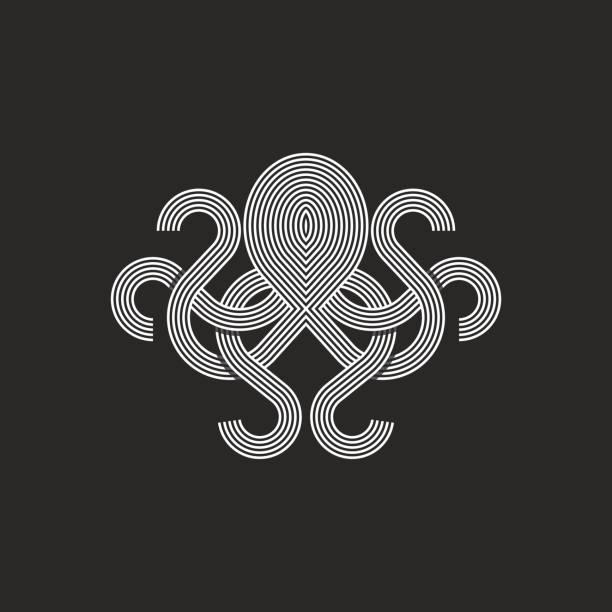 silhouette octopus logo monogram, mockup seafood restaurant emblem - octopus stock illustrations