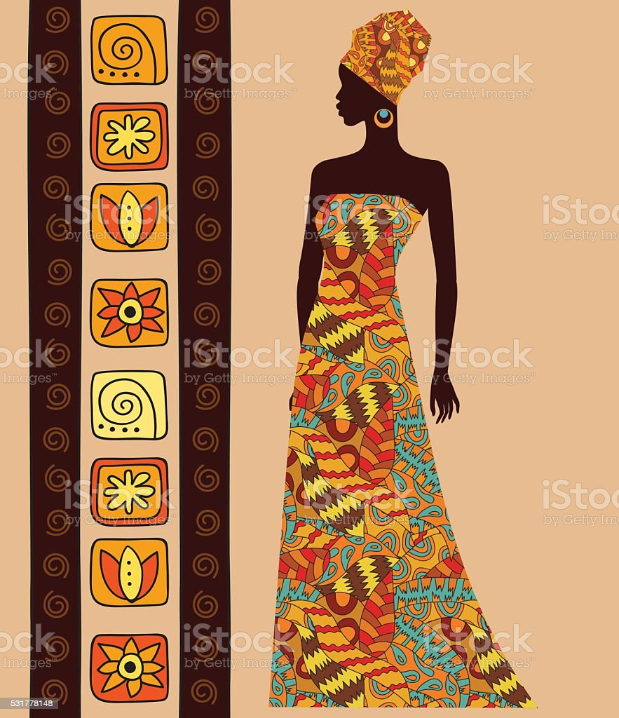 silhouette of a beautiful African woman vector art illustration