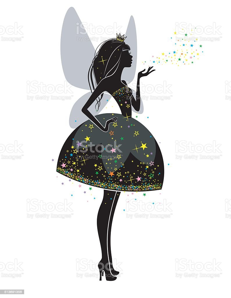 Silhouette of a beautiful princess vector art illustration