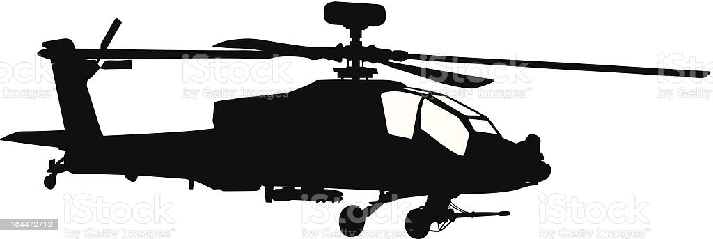 Silhouette of a black Apache helicopter vector art illustration