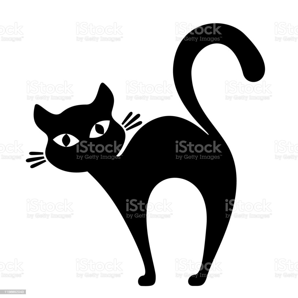 Siluet Kucing Hitam Di Atas Putih Logo Ilustrasi Stok   Unduh ...