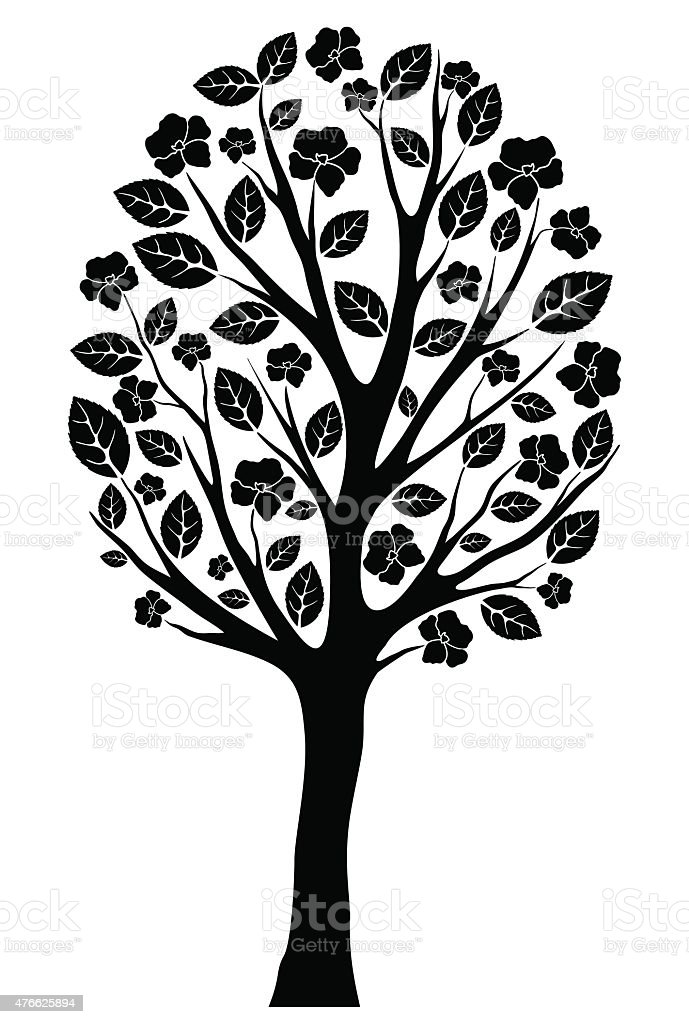 silhouette of a blossoming tree vector art illustration
