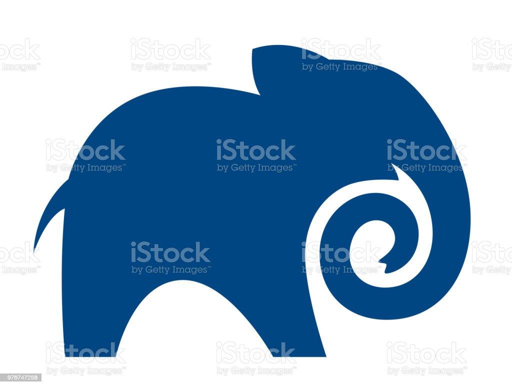 Ilustración de Silueta De Un Elefante Azul Con Un Tronco Torcido y ...