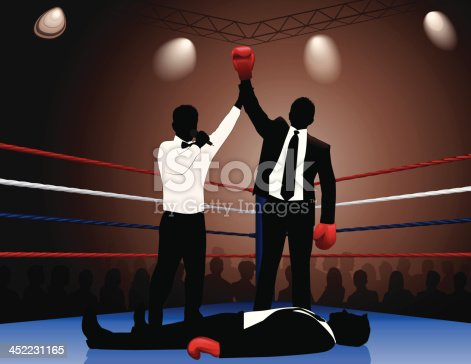 A businessman beats his opponent in the boxing ring. Files included – jpg, ai (version 8 and CS3), svg, and eps (version 8)