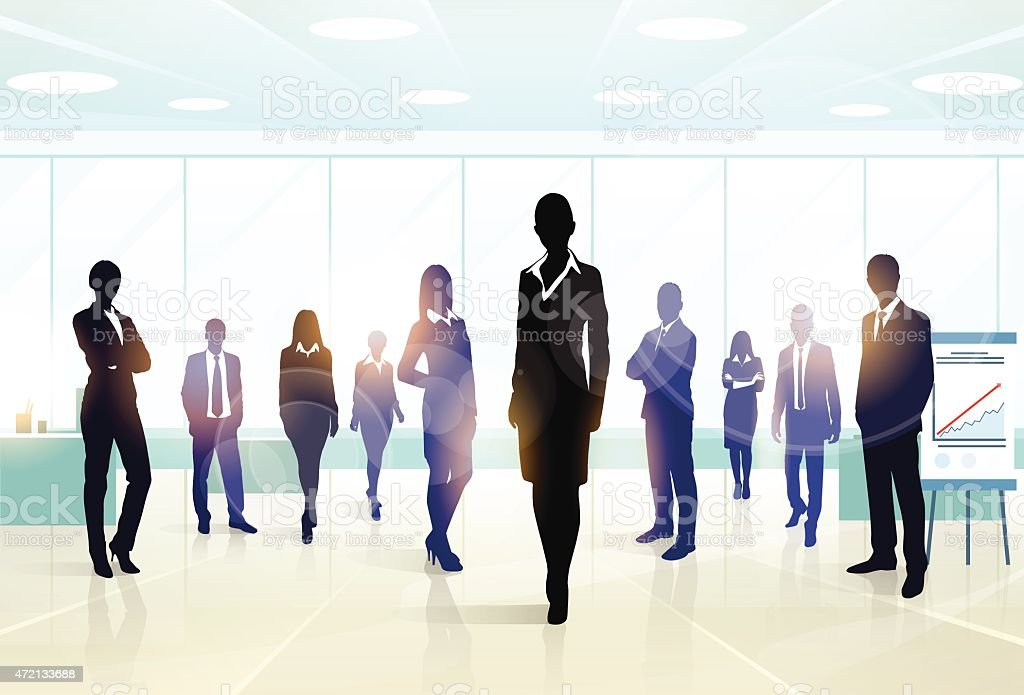 A silhouette of a business executive team vector art illustration