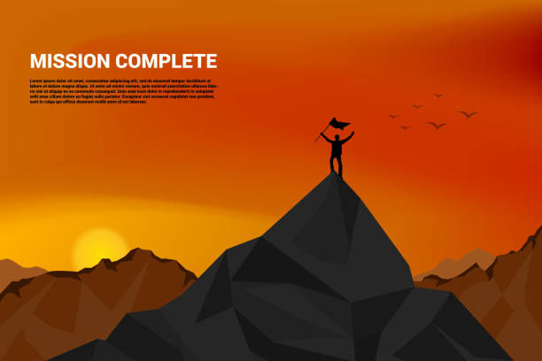 Silhouette of a business man on top of mountain: concept of success in career and mission man with flag on top of mountain represent success in mission or career path mountain climbing stock illustrations