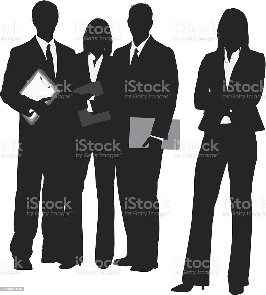 Silhouette of a business team vector art illustration