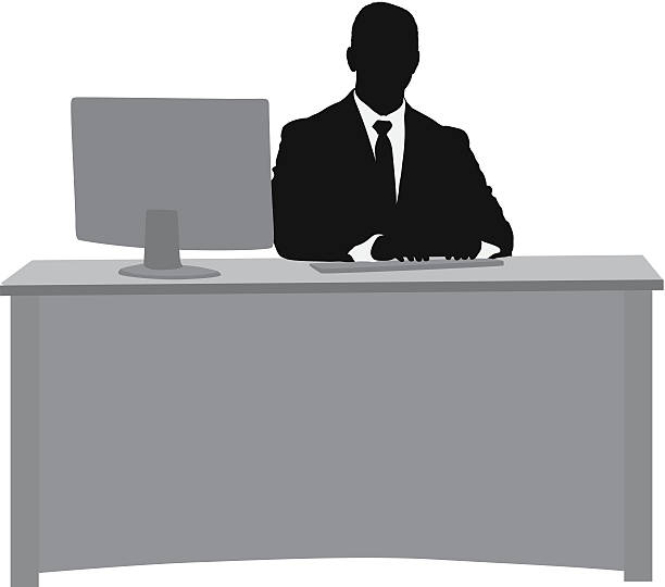 stockillustraties, clipart, cartoons en iconen met silhouette of a businessman at his desk - overhemd en stropdas