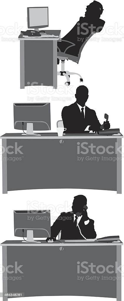 Silhouette of a businessman at work vector art illustration