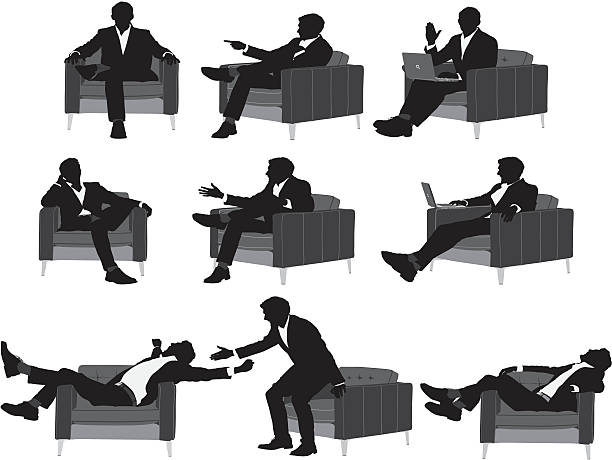 stockillustraties, clipart, cartoons en iconen met silhouette of a businessman in different poses - overhemd en stropdas