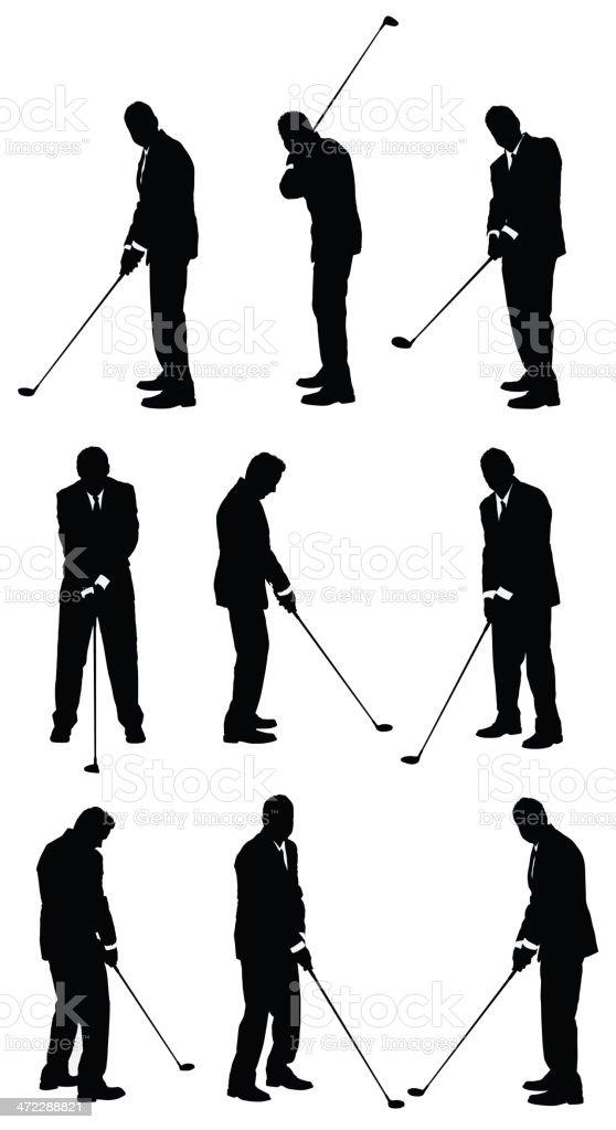 Ilustración de Silueta De Un Hombre Jugando Golf y más banco de ...
