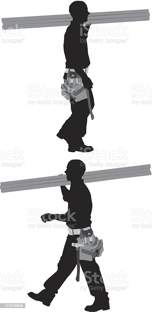 Silhouette of a carpenter carrying wooden planks vector art illustration