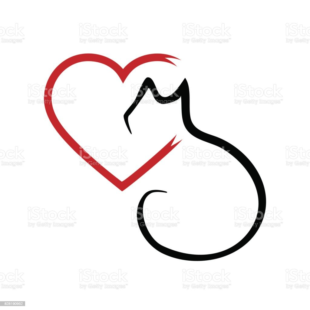 silhouette of a cat and a heart outline brush abstraction stock