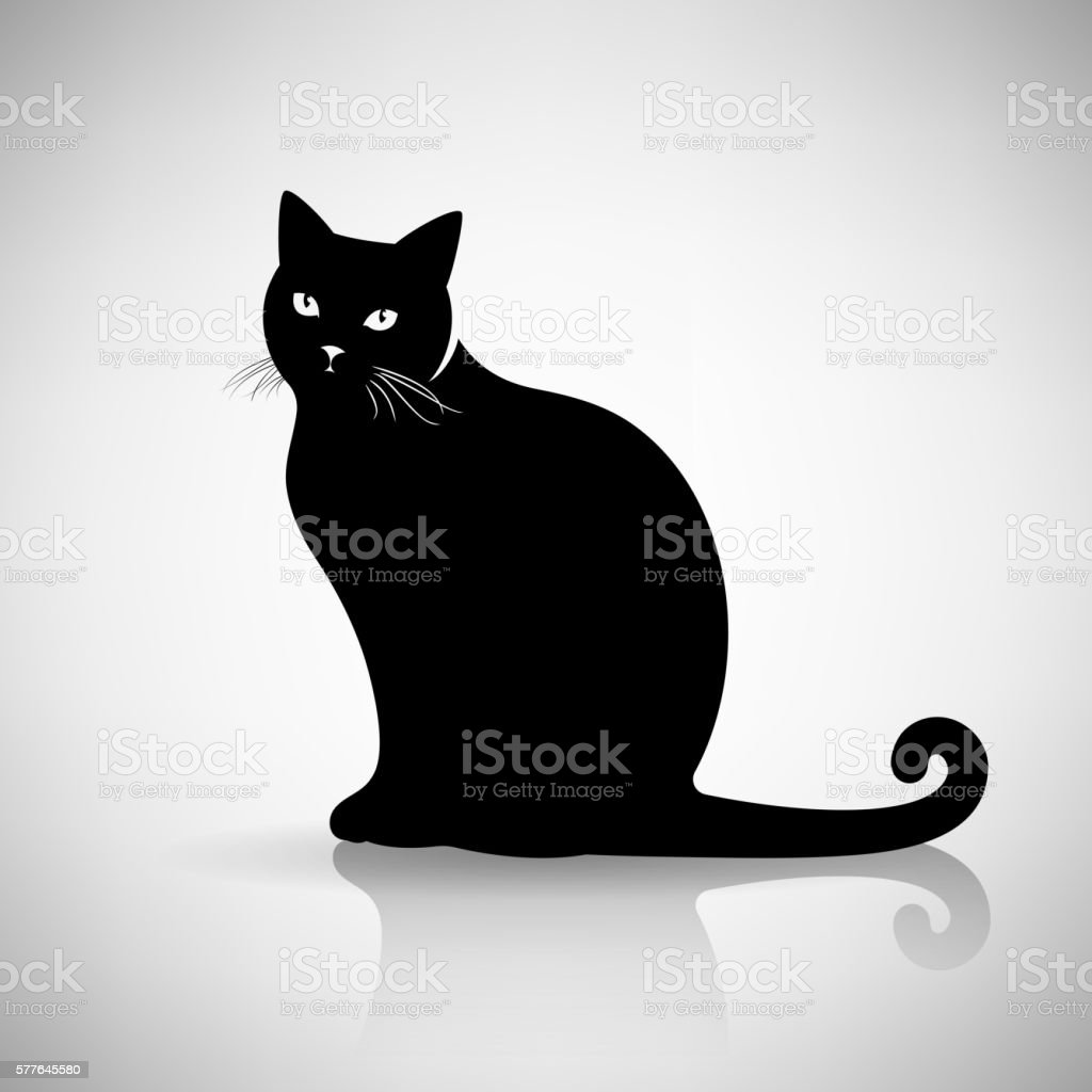 Silhouette of a Cat Sitting vector art illustration