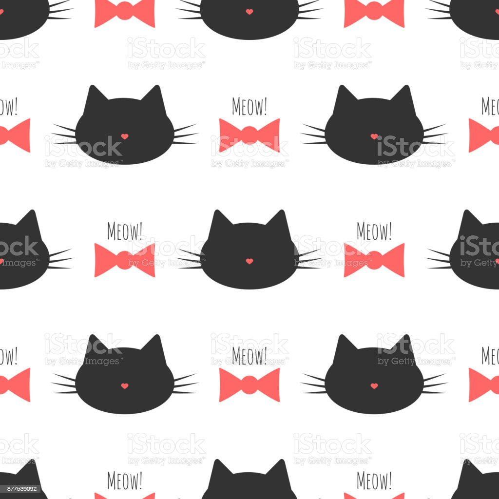 Ilustración de Silueta De Cabeza De Un Gato Arco Texto Meow De ...