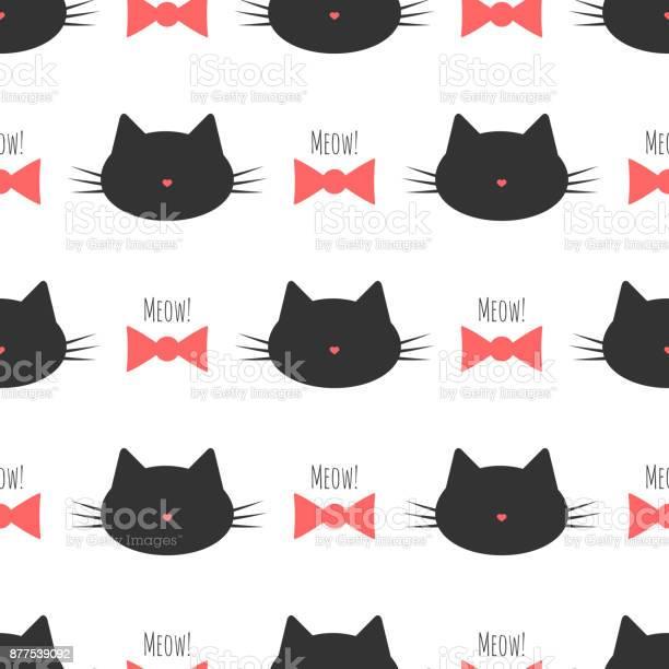 Silhouette of a cats head bow text meow seamless pattern vector id877539092?b=1&k=6&m=877539092&s=612x612&h=xwoilezxjlstpxb2sqzctretircf36ojmnuzfj4gtrm=