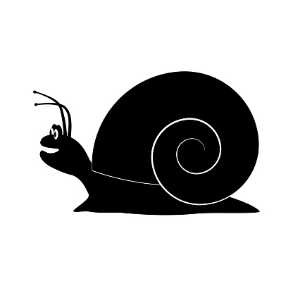 Silhouette of a cheerful snail with a smile. Isolated vector on a white background.