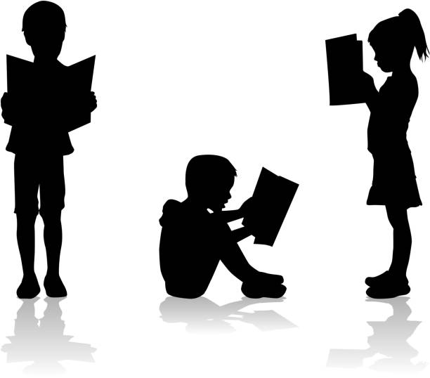 Silhouette of a child reading a book at. Silhouette of a child reading a book at. book silhouettes stock illustrations