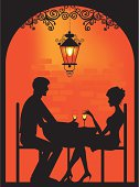 Vector silhouette of a couple dinning at cellar restaurant with soft lantern light