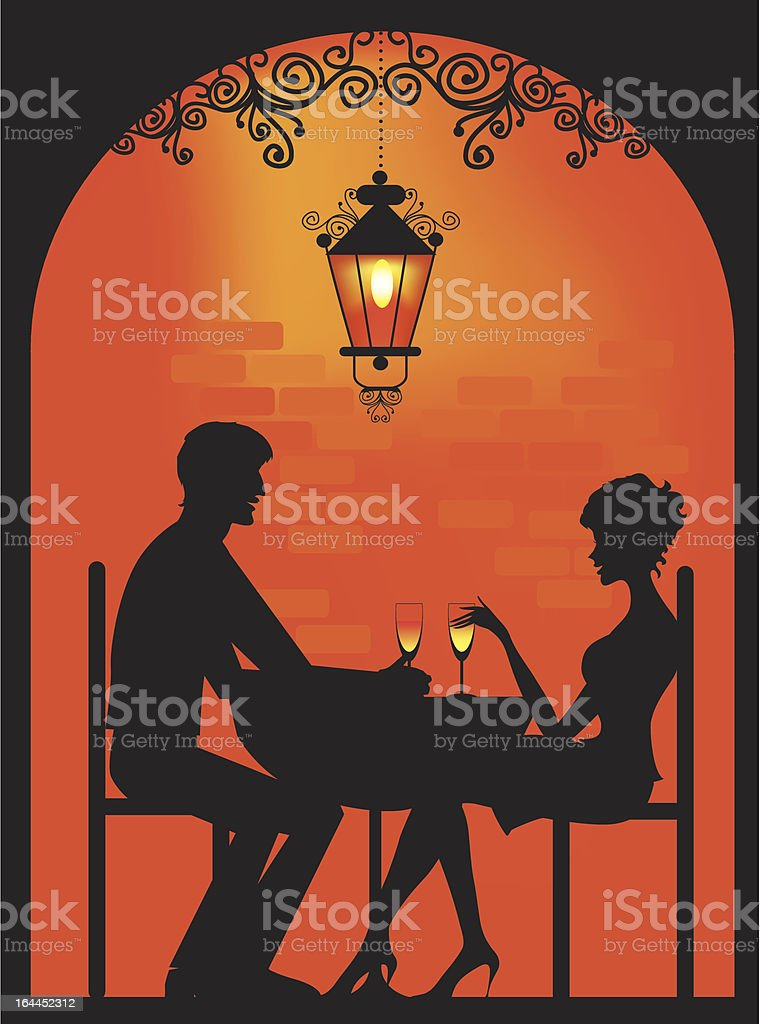 Silhouette of a Couple at restaurant vector art illustration