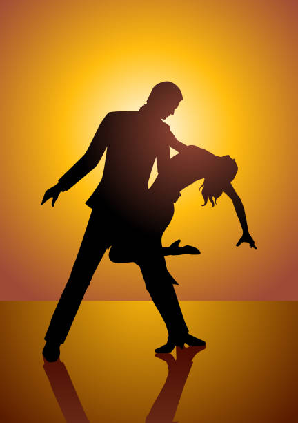 silhouette of a couple dancing - date night stock illustrations