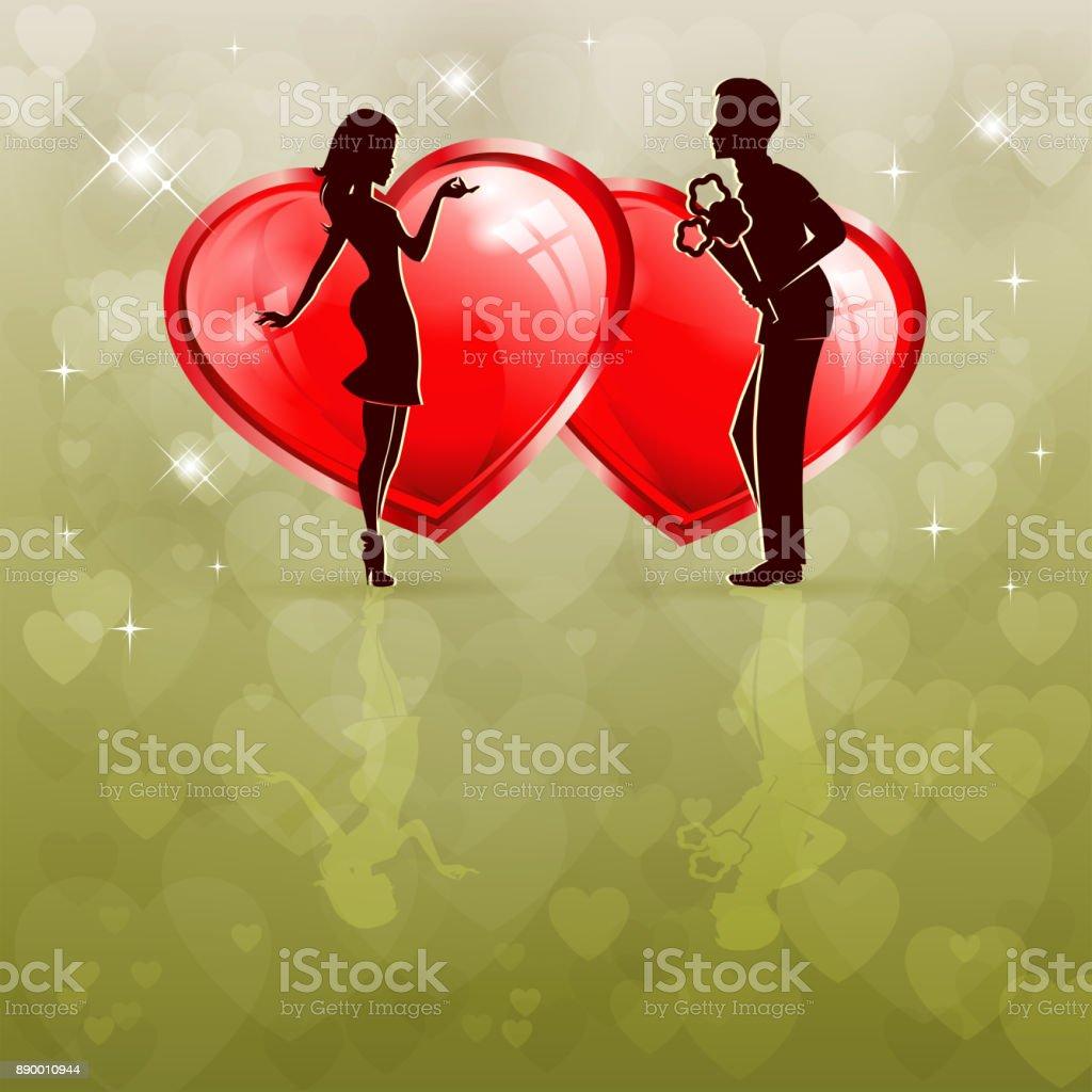 Silueta De Una Pareja En Amor Con Dos Corazones Rojos - Arte ...