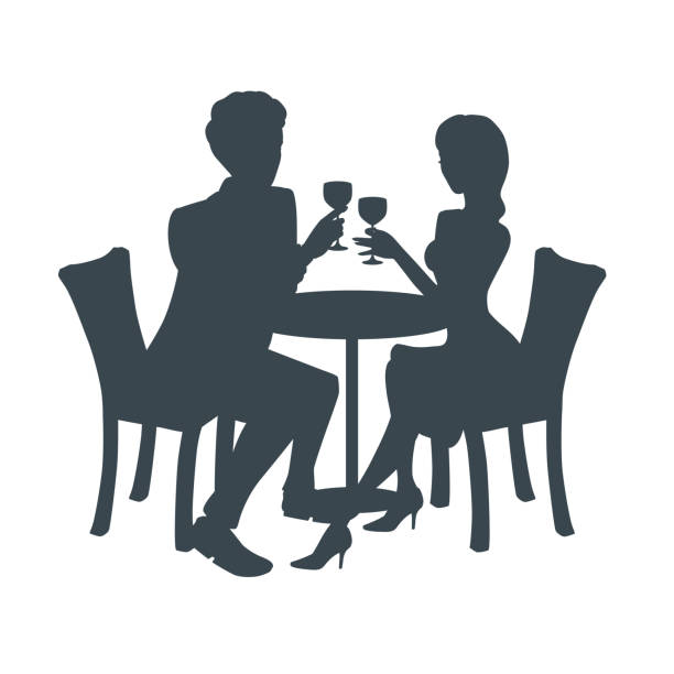 silhouette of a couple on a date. two people sit together at a table, raise their glasses, look at each other. - date night stock illustrations