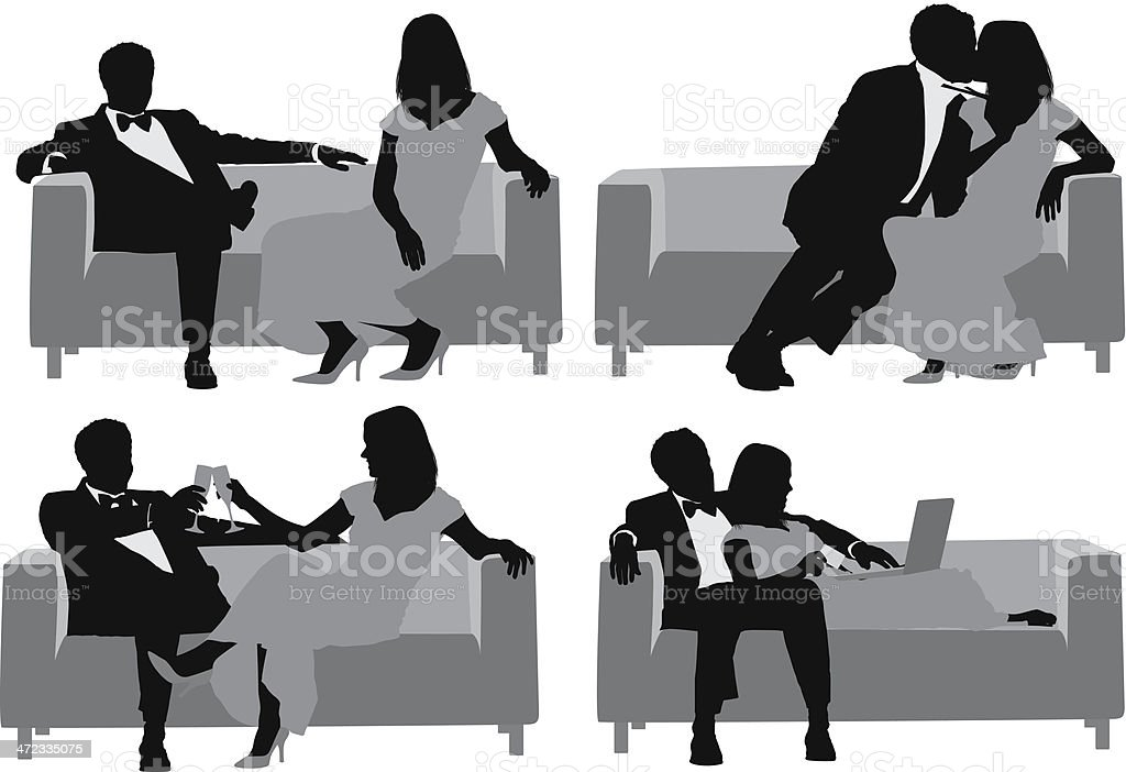 Silhouette of a couple on couch in different poses royalty-free stock vector art