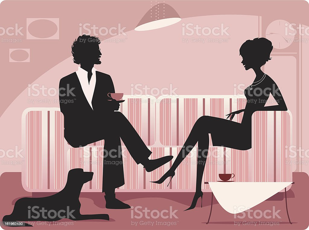 Silhouette of a couple vector art illustration
