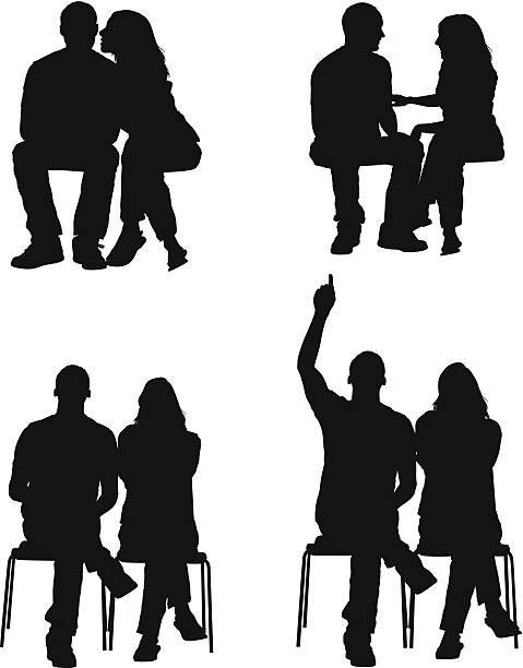 stockillustraties, clipart, cartoons en iconen met silhouette of a couple - zitten