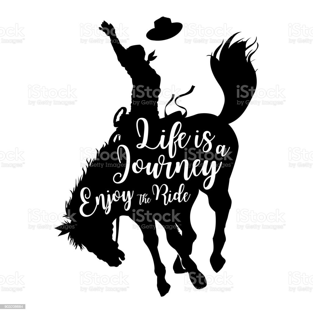 Silhouette d'un cow-boy sur un cheval sauvage avec la vie du texte est un voyage Profitez de la balade, vecteur - Illustration vectorielle