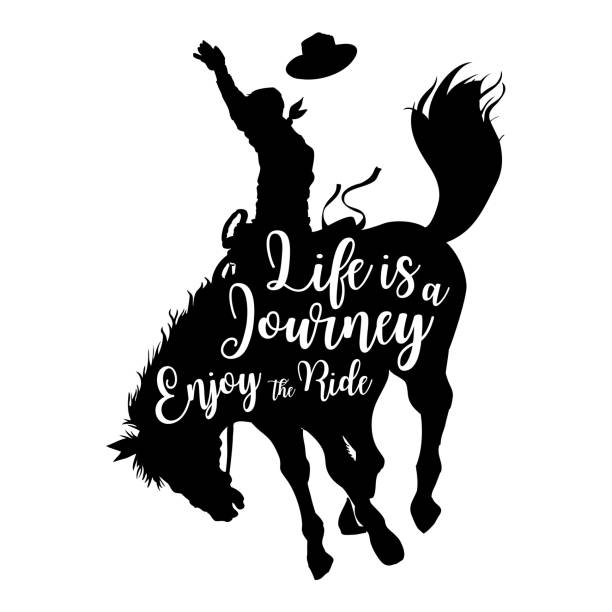 silhouette of a cowboy riding a wild horse with text life is a journey enjoy the ride, vector - rodeo stock illustrations, clip art, cartoons, & icons