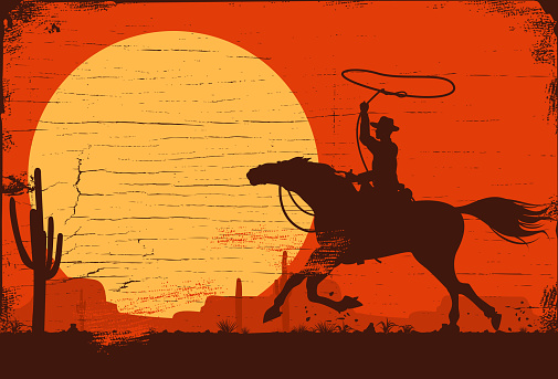 Silhouette of a cowboy riding horse at sunset on a wooden sign, vector
