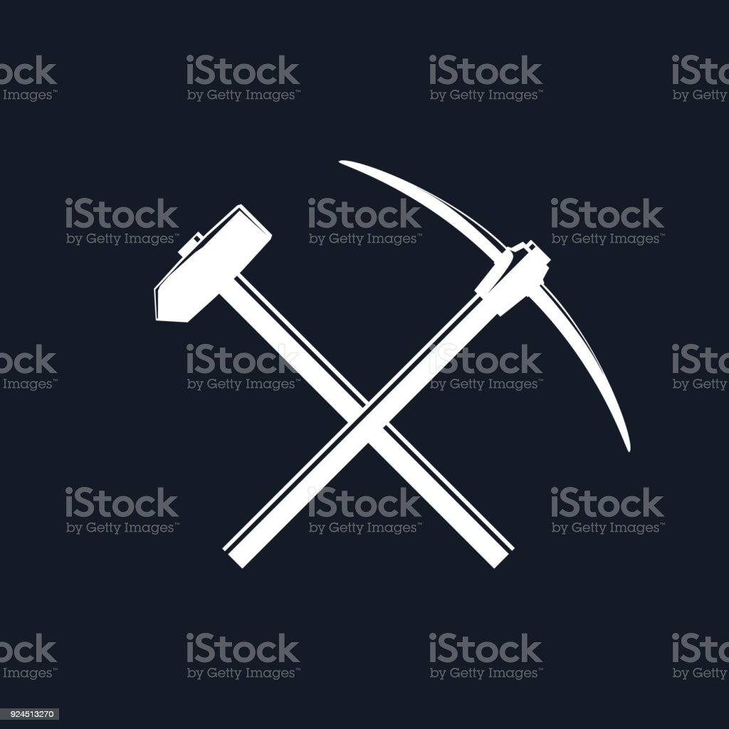 Silhouette of a Crossed Pickaxe and Sledgehammer vector art illustration