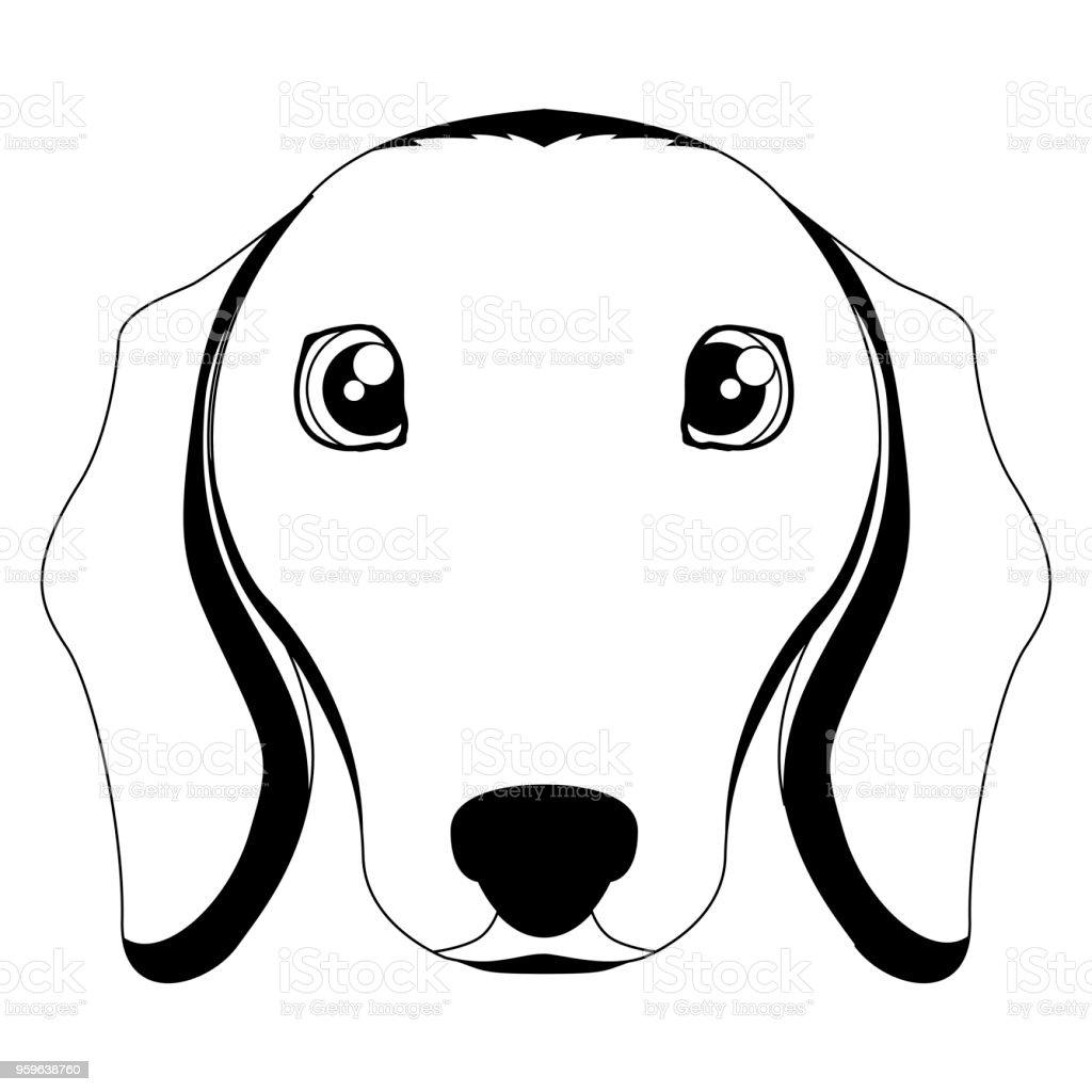 Silueta de un avatar de dachshund - arte vectorial de Alegre libre de derechos