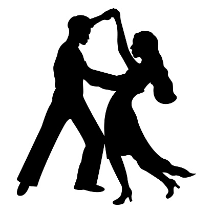 Silhouette of a dancing couple of people isolated on a white background. Vector illustration of an elegant couple of dancers. Dancers of ballroom and Latin American dances