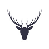 Silhouette of a deer head. Forest animals. Isolated illustration