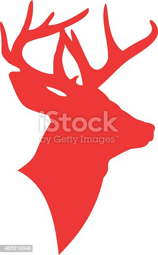 Silhouette Of A Deer Head In The Color Red Stock Vector Art More