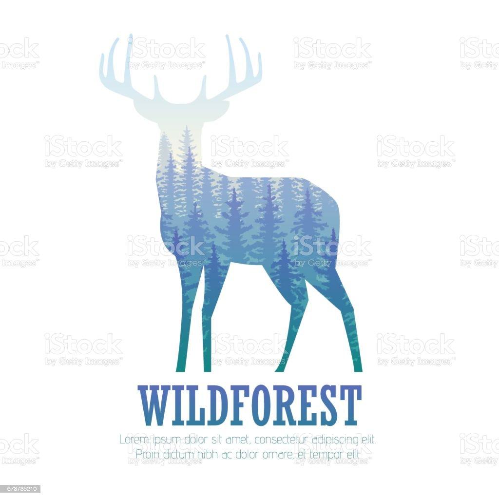 Silhouette d'un cerf pin forêt, bleu et blanc couleurs de fond, vector silhouette dun cerf pin forêt bleu et blanc couleurs de fond vector – cliparts vectoriels et plus d'images de activité de plein air libre de droits