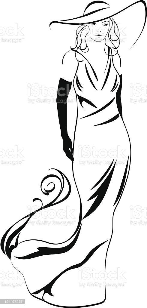 Silhouette Of A Elegant Woman Stock Vector Art & More ... Силуэт Женщины В Платье Вектор