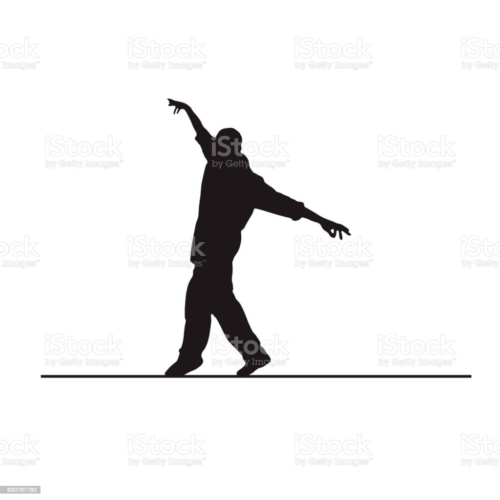 silhouette of a equilibrist, man on little wire vector art illustration