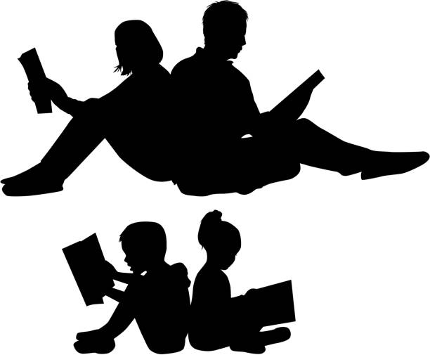 Silhouette of a family reading a book. Silhouette of a family reading a book book silhouettes stock illustrations