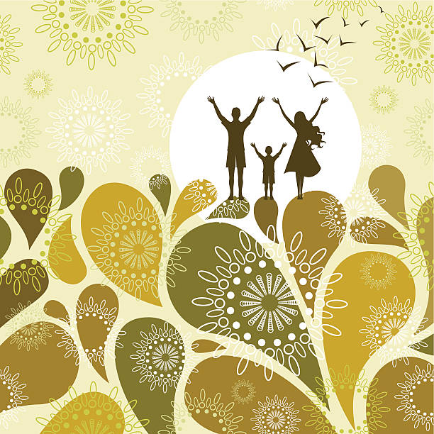Silhouette of a family standing on an abstract green design vector art illustration