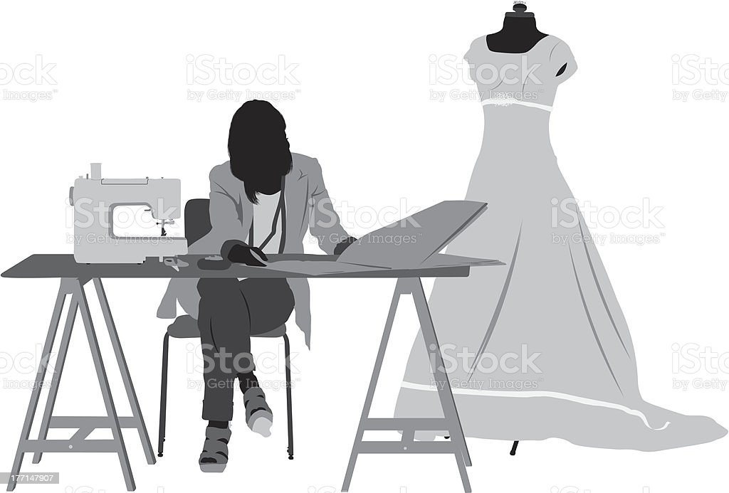 Silhouette of a female fashion designer at wotk vector art illustration