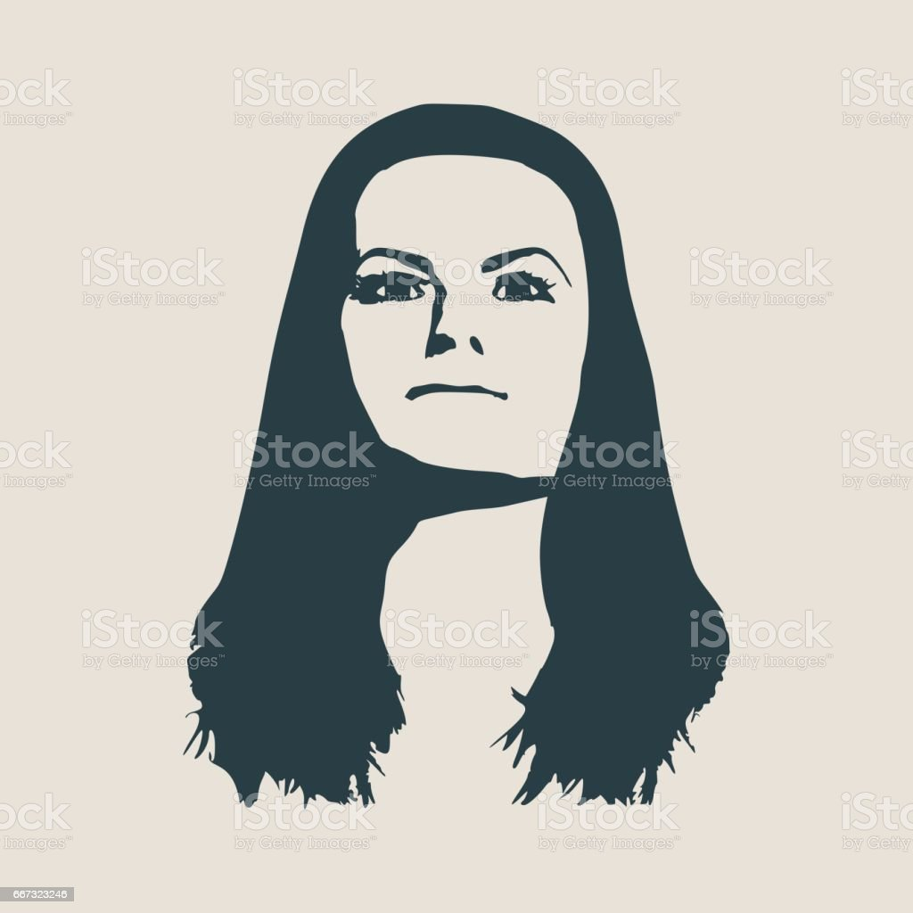 silhouette of a female head face front view stock vector art more