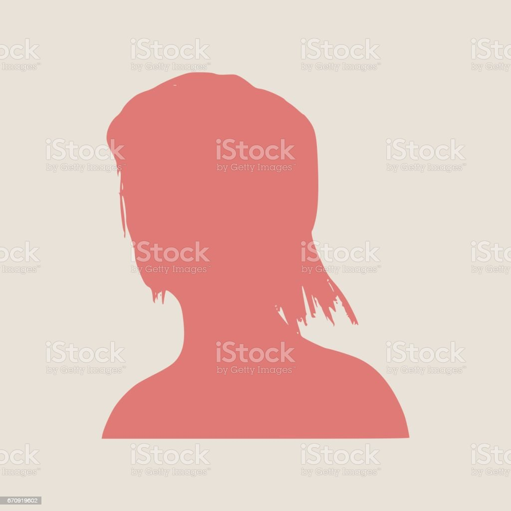 Silhouette Of A Female Head Face Half Turn View Stock
