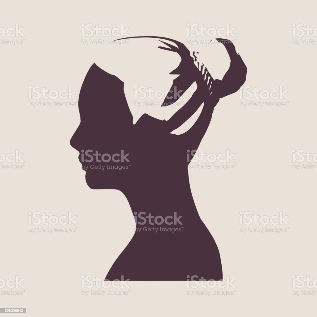 Face side view. Elegant silhouette of a female head. Vector...