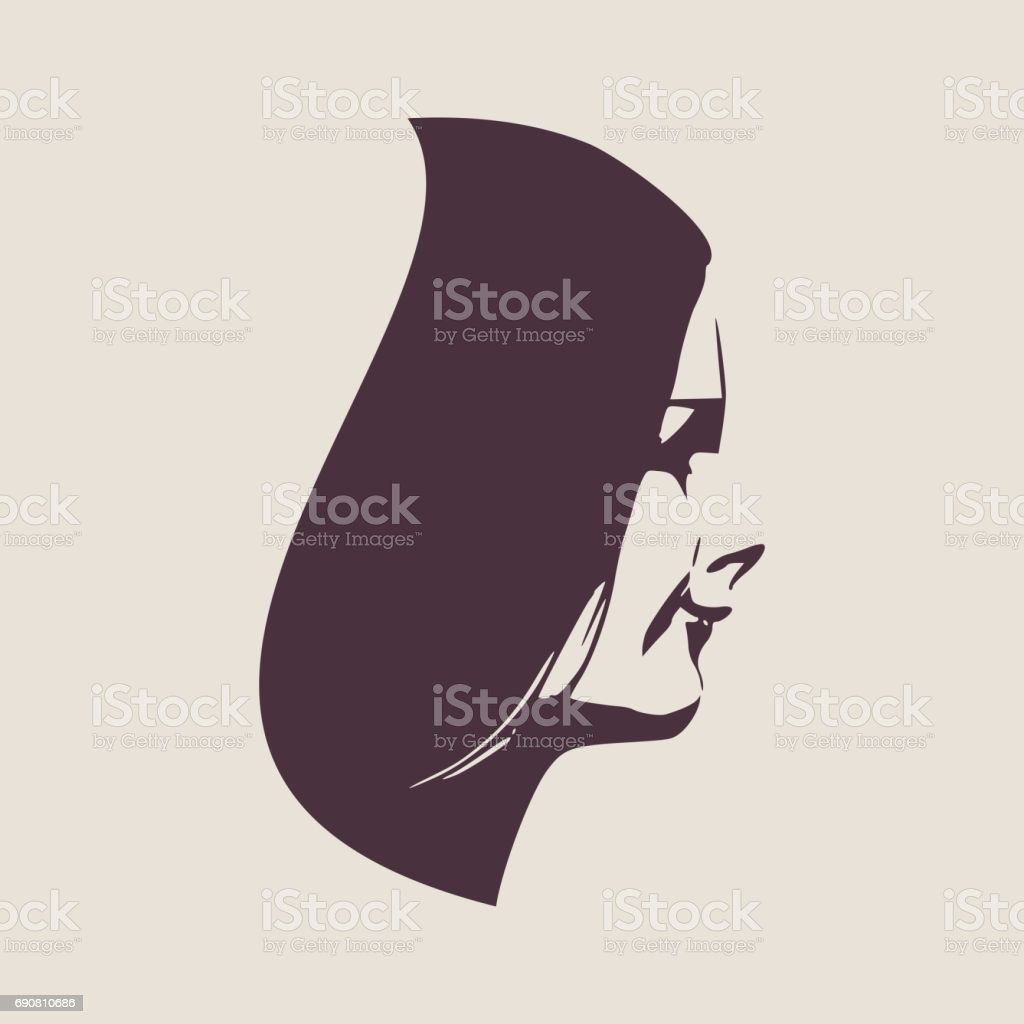 silhouette of a female head face side view royalty free stock vector art